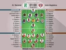 Alineaciones confirmadas del Atlético Nacional-Unión Magdalena. BeSoccer