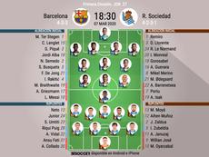 Alineaciones confirmadas del Barcelona-Real Sociedad. EFE