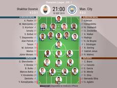 Onces confirmados del Shakhtar Donetsk-Manchester City. BeSoccer