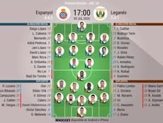Onces confirmados del Espanyol-Leganés. BeSoccer