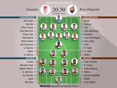 Alineaciones confirmadas del Granada-Reus Desportiu de la Jornada 40 de Segunda. BeSoccer