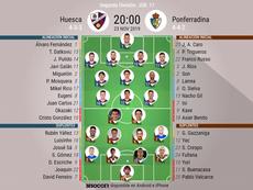 Alineaciones confirmadas del Huesca-Ponferradina. BeSoccer