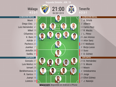 Onces del Málaga-Tenerife. BeSoccer