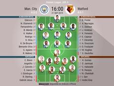 Onces iniciales del City-Watford de la Jornada 6 de la Premier League 2019-20. BeSoccer