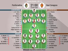 Onces del Ponferradina-Zaragoza. BeSoccer