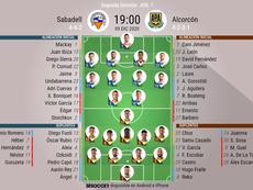 Alineaciones confirmadas para el Sabadell-Alcorcón. BeSoccer