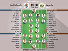 Onces del Valladolid-Leganés. BeSoccer
