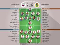 Alineaciones confirmadas de Extremadura y Fuenlabrada. BeSoccer