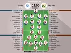 Alineaciones oficiales de Alavés y Leganés. BeSoccer