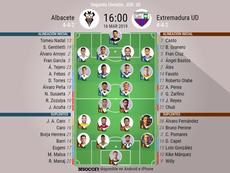 Alineaciones oficiales de Albacete y Extremadura. BeSoccer