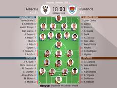 Alineaciones de Albacete y Numancia. BeSoccer
