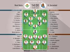 Alineaciones oficiales de Betis y Real Sociedad. BeSoccer