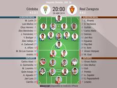 Alineaciones de Córdoba y Zaragoza. BeSoccer
