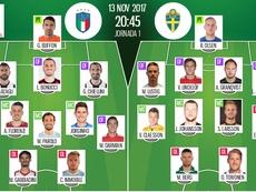 Alineaciones de Italia y Suecia para la vuelta de repesca al Mundial de Rusia. BeSoccer