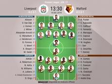 Onces del Liverpool-Watford de la jornada 17 de la Premier. BeSoccer