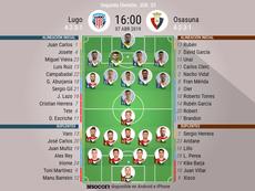 Onces confirmados de Lugo y Osasuna. BeSoccer
