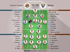 Alineaciones oficiales de Nàstic y Málaga. BeSoccer