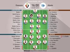 Alineaciones oficiales de Osasuna y Alavés. BeSoccer