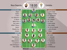 Alineaciones oficiales de Reus y Córdoba. BeSoccer