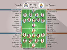 Alineaciones de Tenerife y Las Palmas. BeSoccer