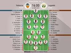 Onces confirmados de Valencia y Leganés. BeSoccer