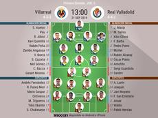Onces confirmados de Villarreal y Valladolid. BeSoccer