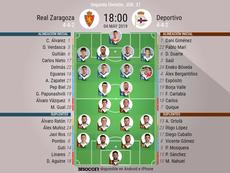 Alineaciones de Zaragoza y Deportivo. BeSoccer