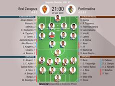 Alineaciones oficiales de Zaragoza y Ponferradina. BeSoccer