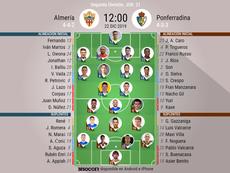 Onces del Almería-Ponferradina. BeSoccer