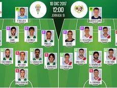 Alineaciones del encuentro de Segunda División Córdoba-Rayo. BeSoccer