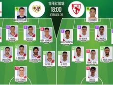 Alineaciones del encuentro de Segunda División Rayo-Sevilla Atlético, febrero de 2018. BeSoccer