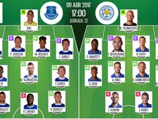 Official lineups of Everton-Leicester Premier League clash. BeSoccer