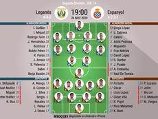 Alineaciones del Leganés-Espanyol. BeSoccer