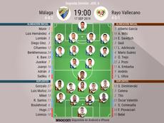 Alineaciones de Málaga y Rayo Vallecano. BeSoccer