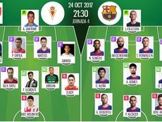 Alineaciones del Murcia-Barcelona del 24-10-17. BeSoccer
