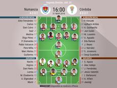 Alineaciones del Numancia-Córdoba correspondientes a la Jornada 33. BeSoccer