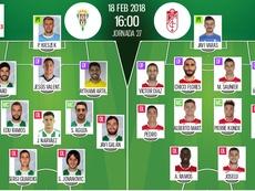 Alineaciones del partido Córdoba-Granada de la jornada 27 de Segunda División 2017-18. BeSoccer