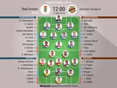 Alineaciones de Oviedo y Nàstic de Tarragona en la jornada 30 de Segunda División. BeSoccer
