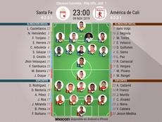 Onces del Santa Fe-América del 'play off' por el título del Clausura. BeSoccer