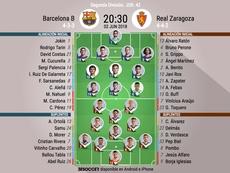 Así formarán Barça B y Zaragoza. BeSoccer