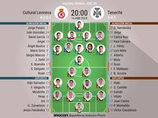 Alineaciones oficiales del Cultural Leonesa-Tenerife. BeSoccer