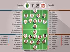 Onces del Suecia-Canadá. BeSoccer