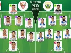 Les compos officielles du match de Coupe du Roi entre Séville et Leganes. BeSoccer