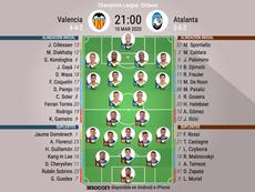 Alineaciones oficiales del Valencia-Atalanta de vuelta de octavos de Champions 19-20. BeSoccer