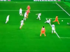 Morata scored the first goal of the CL group stage 2020-21. Screenshot/MovistarLigadeCampeones