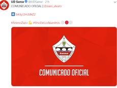 Álvaro Zazo, ingresado en el hospital tras sentirse indispuesto en un entrenamiento. Twitter/UDSanse