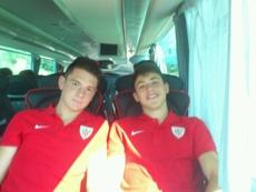 Ander Quintana, a la izquierda, procede de las categorías inferiores del Athletic. Twitter