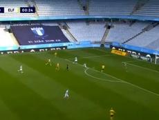 El Malmö ya ganaba a los 25 segundos. Captura/DplaySport