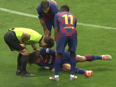 Jorginho le clavó los tacos a Griezmann. Captura/BarçaTV