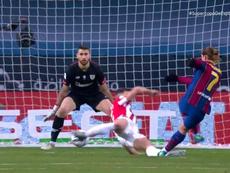 Todos esperaban a Messi, pero fue Griezmann el que hizo el 1-0. Captura/Vamos